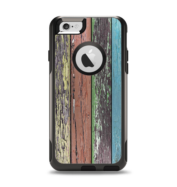 The Chipped Pastel Paint on Wood Apple iPhone 6 Otterbox Commuter Case Skin Set