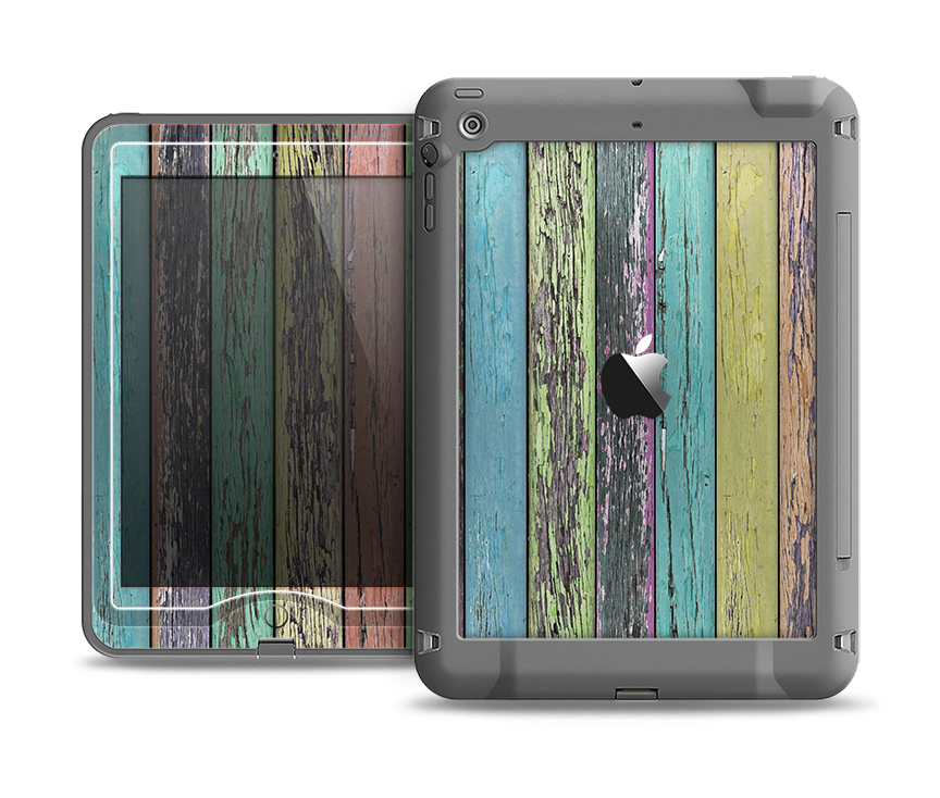 The Chipped Pastel Paint on Wood Apple iPad Air LifeProof Nuud Case Skin Set