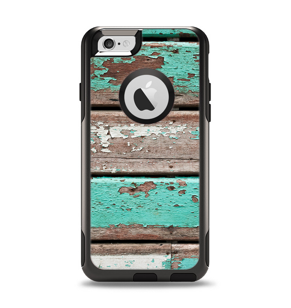 The Chipped Teal Paint On Wood Apple iPhone 6 Otterbox Commuter Case Skin Set