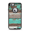 The Chipped Teal Paint On Wood Apple iPhone 6 Otterbox Defender Case Skin Set