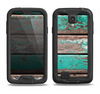 The Chipped Teal Paint On Wood Samsung Galaxy S4 LifeProof Fre Case Skin Set