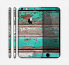 The Chipped Teal Paint On Wood Skin for the Apple iPhone 6 Plus