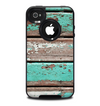 The Chipped Teal Paint On Wood Skin for the iPhone 4-4s OtterBox Commuter Case