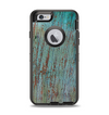 The Chipped Teal Paint on Aged Wood Apple iPhone 6 Otterbox Defender Case Skin Set
