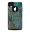 The Chipped Teal Paint on Aged Wood Skin for the iPhone 4-4s OtterBox Commuter Case