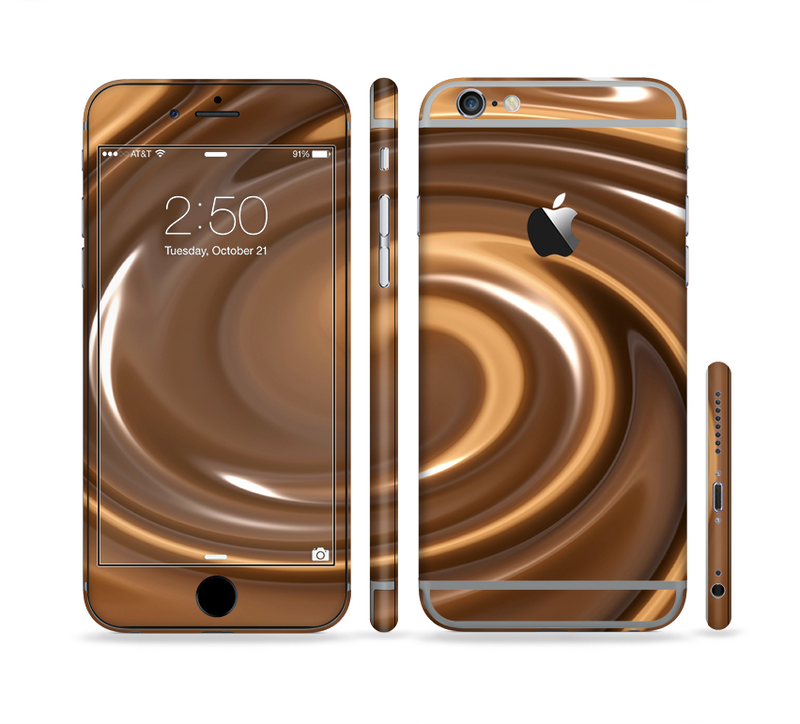 The Chocolate and Carmel Swirl Sectioned Skin Series for the Apple iPhone 6s