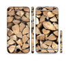 The Chopped Wood Logs Sectioned Skin Series for the Apple iPhone 6 Plus