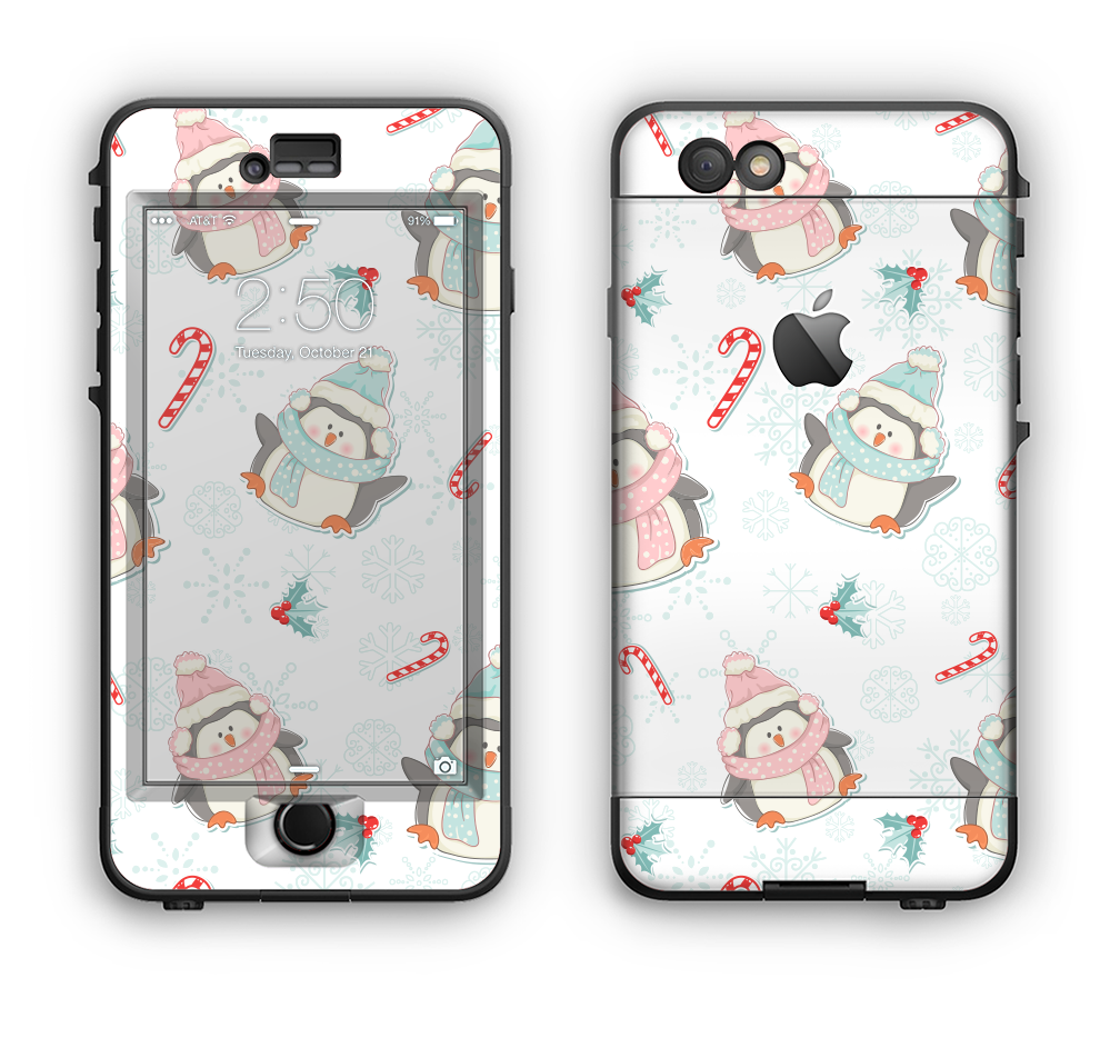 The Christmas Suited Fat Penguins Apple iPhone 6 LifeProof Nuud Case Skin Set