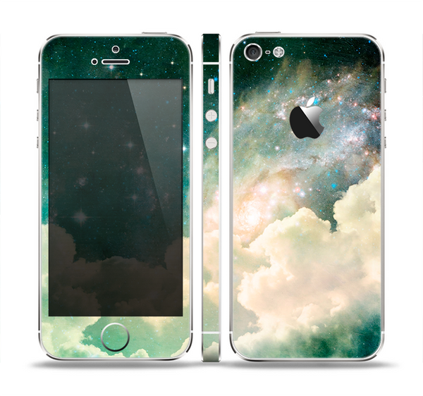 The Cloudy Abstract Green Nebula Skin Set for the Apple iPhone 5