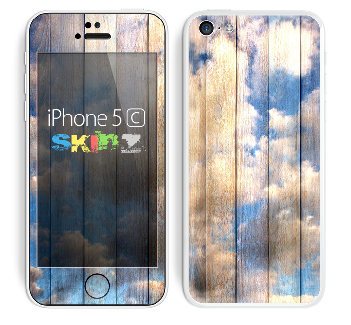 The Cloudy Wood Planks Skin for the Apple iPhone 5c