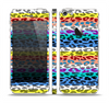 The Color Striped Vector Leopard Print Skin Set for the Apple iPhone 5