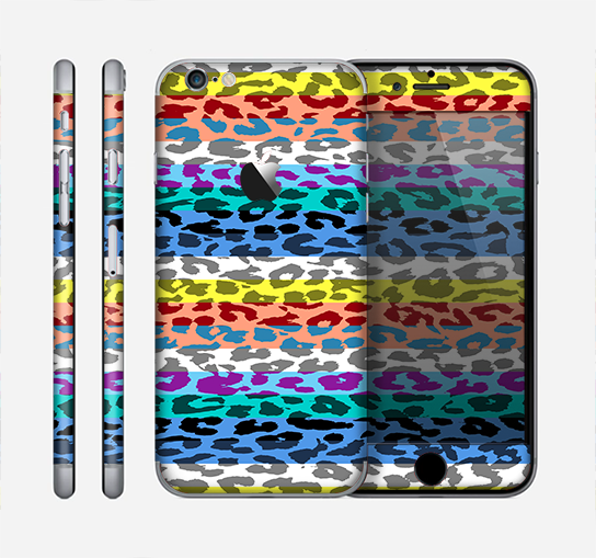 The Color Striped Vector Leopard Print Skin for the Apple iPhone 6