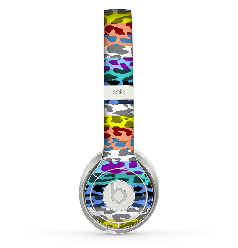 The Color Striped Vector Leopard Print Skin for the Beats by Dre Solo 2 Headphones