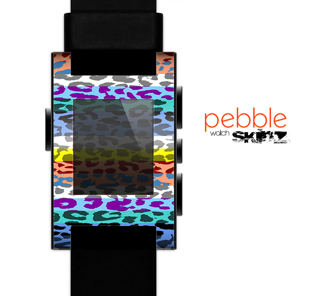 The Color Striped Vector Leopard Print Skin for the Pebble SmartWatch