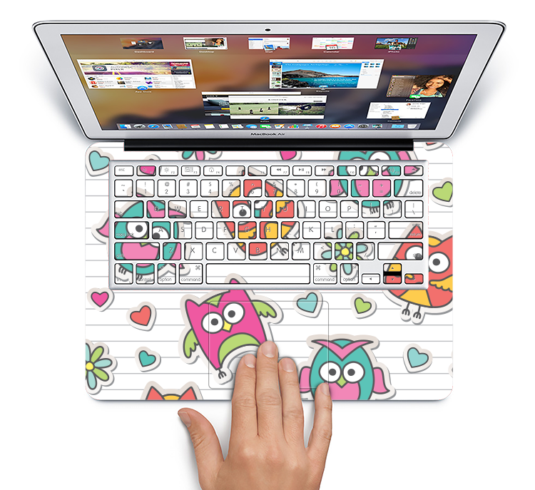 "The Colored Cartoon Owl Cutouts on Paper Skin Set for the Apple MacBook Pro 15"" with Retina Display"
