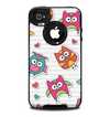 The Colored Cartoon Owl Cutouts on Paper Skin for the iPhone 4-4s OtterBox Commuter Case
