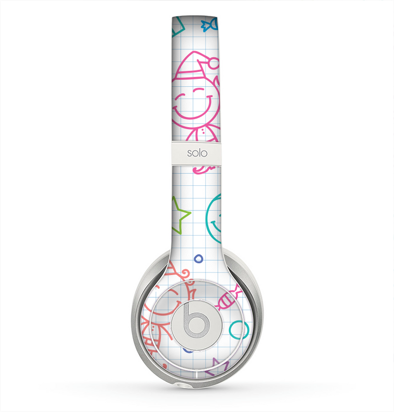 The Colored Happy Doodle Angels and Elves Skin for the Beats by Dre Solo 2 Headphones