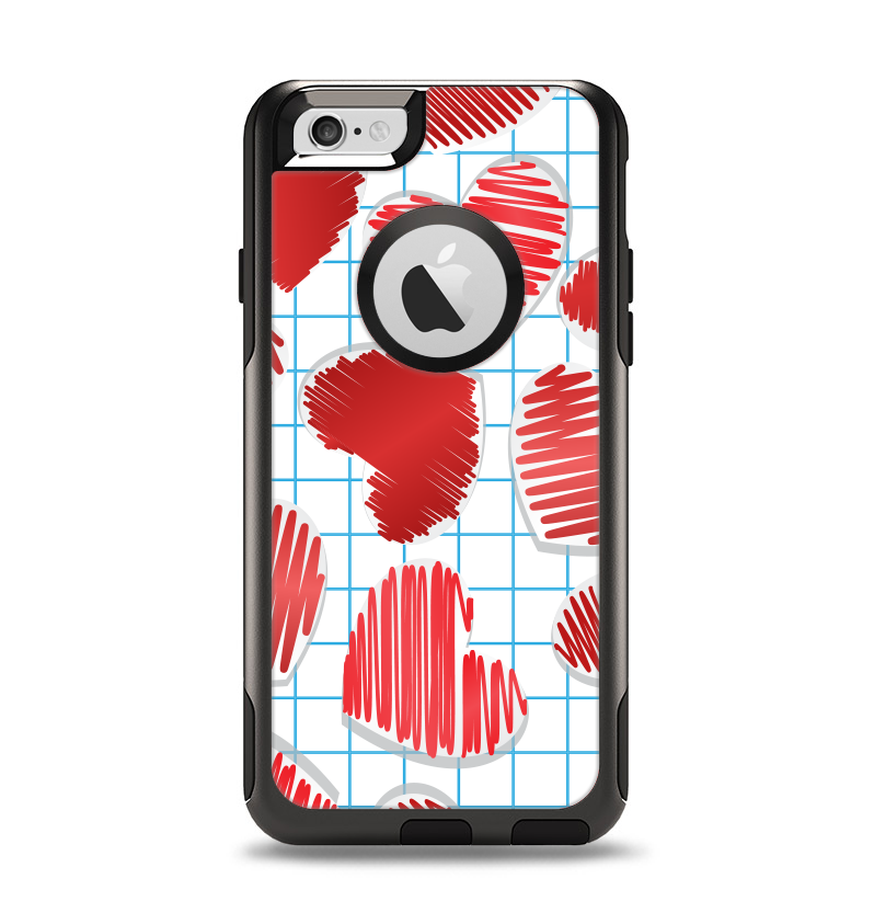 The Colored Red Doodle-Hearts Apple iPhone 6 Otterbox Commuter Case Skin Set