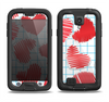 The Colored Red Doodle-Hearts Samsung Galaxy S4 LifeProof Fre Case Skin Set