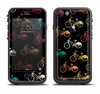 The Colored Vintage Bike Pattern On Black Apple iPhone 6/6s LifeProof Fre Case Skin Set