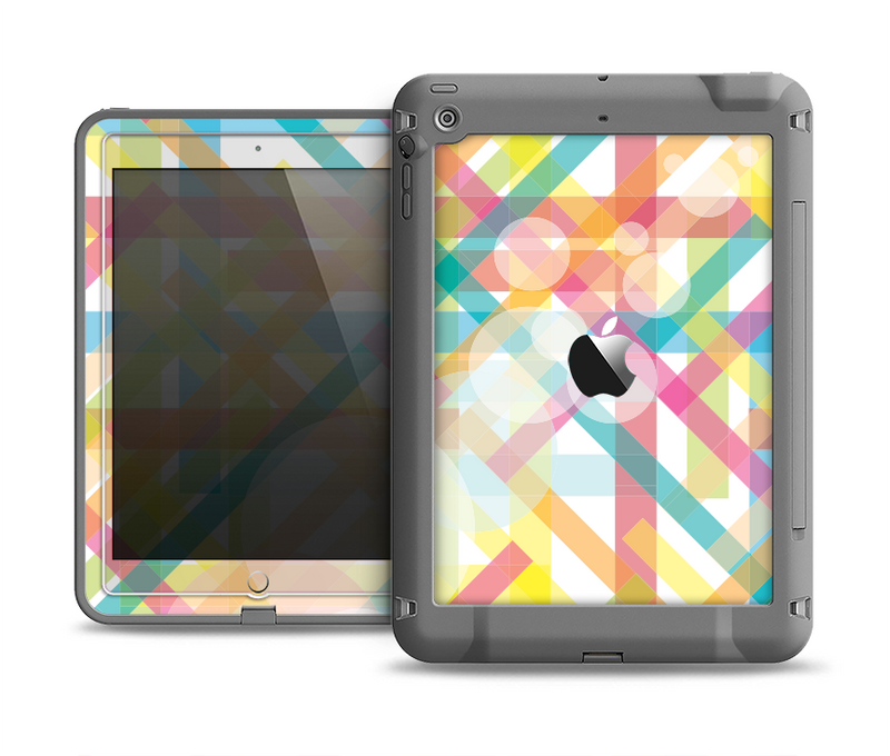The Colorful Abstract Plaid Intersect Apple iPad Air LifeProof Fre Case Skin Set