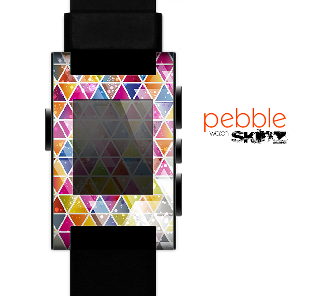 The Colorful Abstract Stacked Triangles Skin for the Pebble SmartWatch