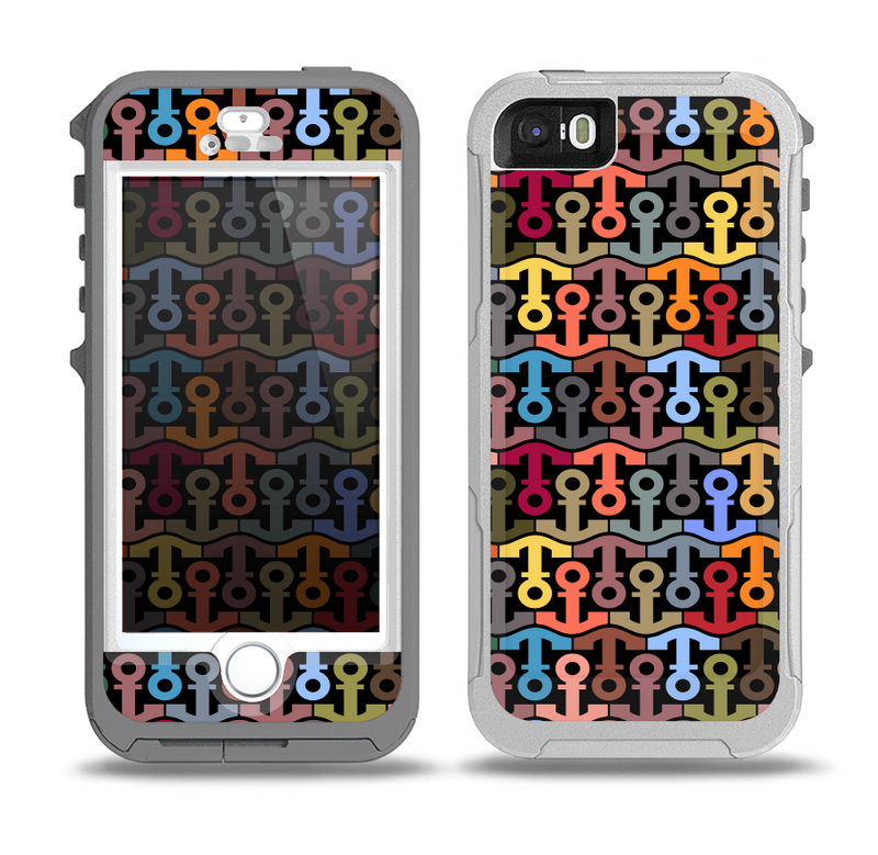 The Colorful Anchor Vector Collage Pattern Skin for the iPhone 5-5s OtterBox Preserver WaterProof Case