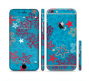 The Colorful Blue and Red Starfish Shapes Sectioned Skin Series for the Apple iPhone 6s