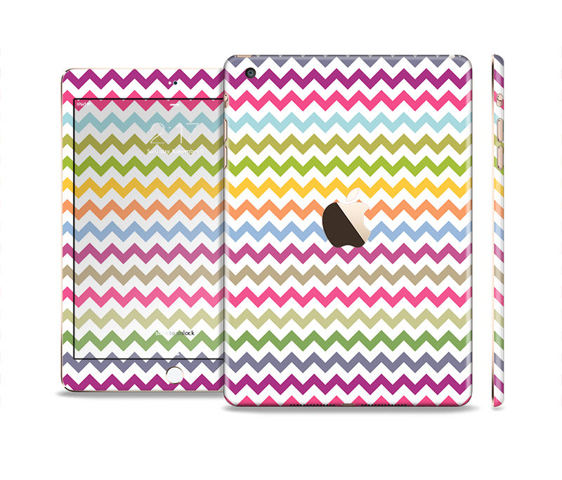 The Colorful Chevron Pattern Full Body Skin Set for the Apple iPad Mini 3