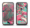 The Colorful Pink & Teal Seamless Paisley Apple iPhone 6/6s LifeProof Fre Case Skin Set