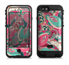 The Colorful Pink & Teal Seamless Paisley Apple iPhone 6/6s LifeProof Fre POWER Case Skin Set