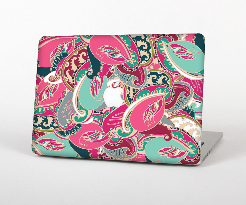 "The Colorful Pink & Teal Seamless Paisley Skin Set for the Apple MacBook Pro 15"" with Retina Display"