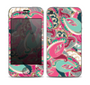 The Colorful Pink & Teal Seamless Paisley Skin for the Apple iPhone 4-4s