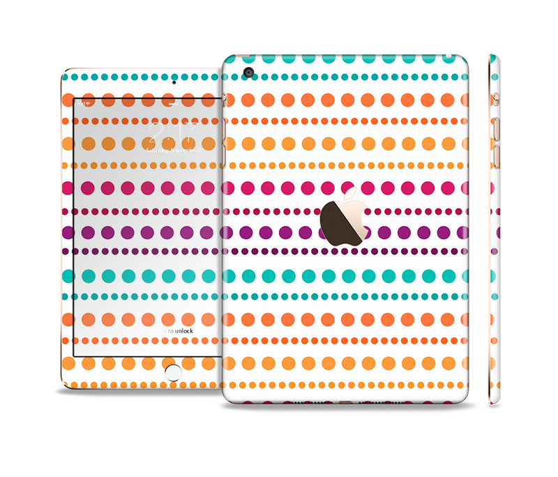The Colorful Polka Dots on White Full Body Skin Set for the Apple iPad Mini 3