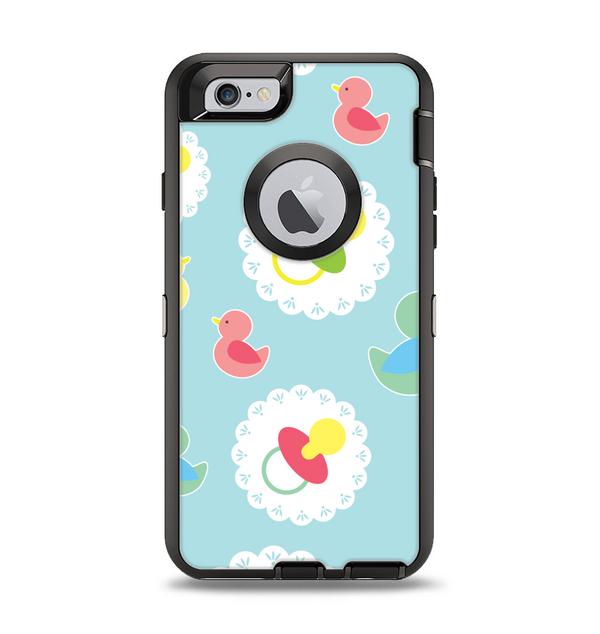 The Colorful Rubber Ducky and Blue Apple iPhone 6 Otterbox Defender Case Skin Set