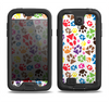 The Colorful Scattered Paw Prints Samsung Galaxy S4 LifeProof Fre Case Skin Set