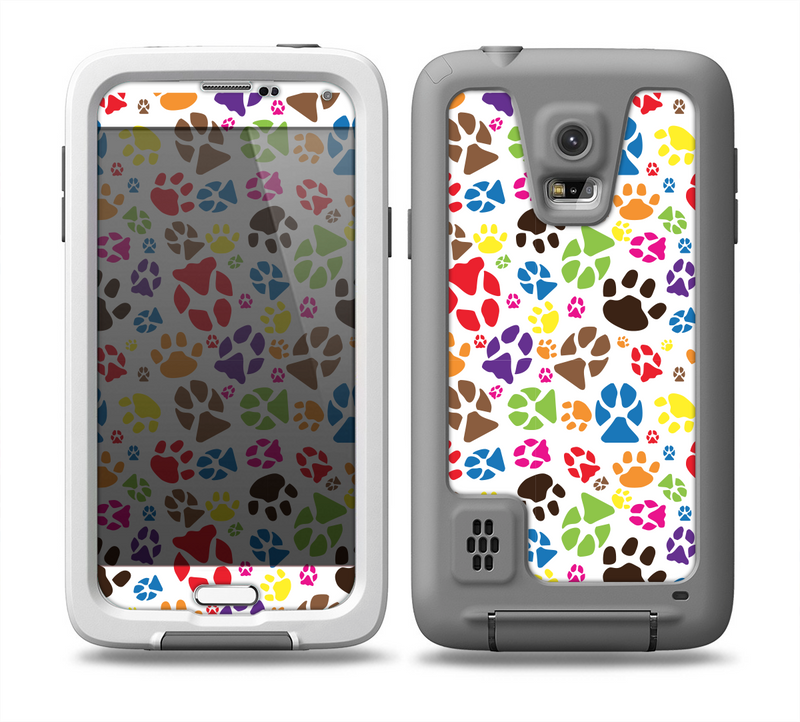 The Colorful Scattered Paw Prints Skin for the Samsung Galaxy S5 frē LifeProof Case