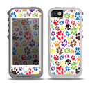 The Colorful Scattered Paw Prints Skin for the iPhone 5-5s OtterBox Preserver WaterProof Case