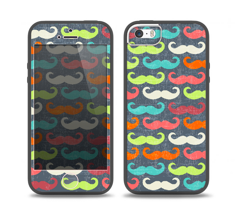 The Colorful Scratched Mustache Pattern Skin Set for the iPhone 5-5s Skech Glow Case