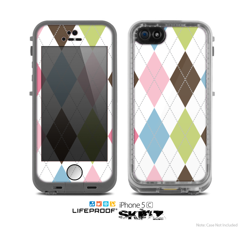 The Colorful Stitched Plaid Shapes Skin for the Apple iPhone 5c LifeProof Case