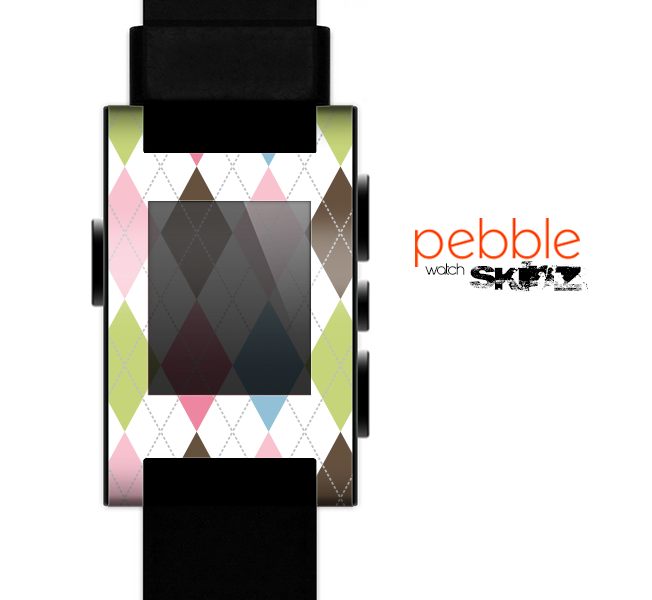 The Colorful Stitched Plaid Shapes Skin for the Pebble SmartWatch