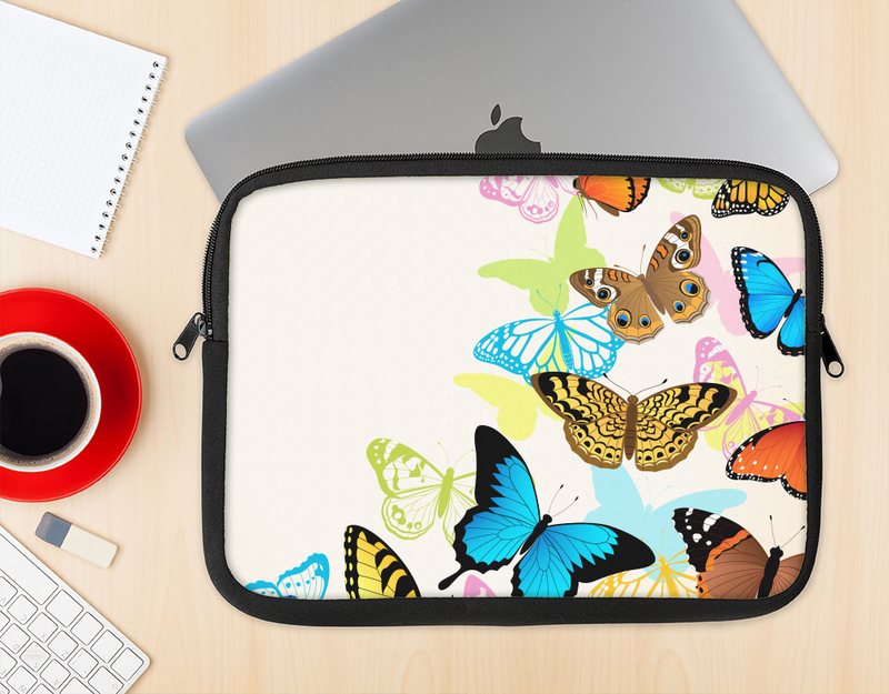 The Colorful Vector Butterflies Ink-Fuzed NeoPrene MacBook Laptop Sleeve