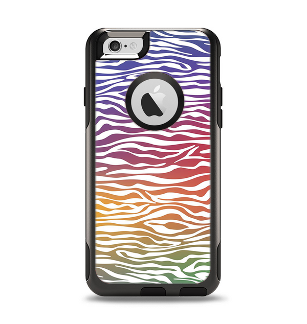 The Colorful Vector Zebra Animal Print Apple iPhone 6 Otterbox Commuter Case Skin Set
