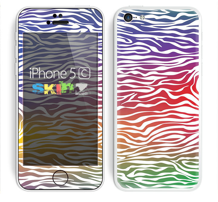 The Colorful Vector Zebra Animal Print Skin for the Apple iPhone 5c