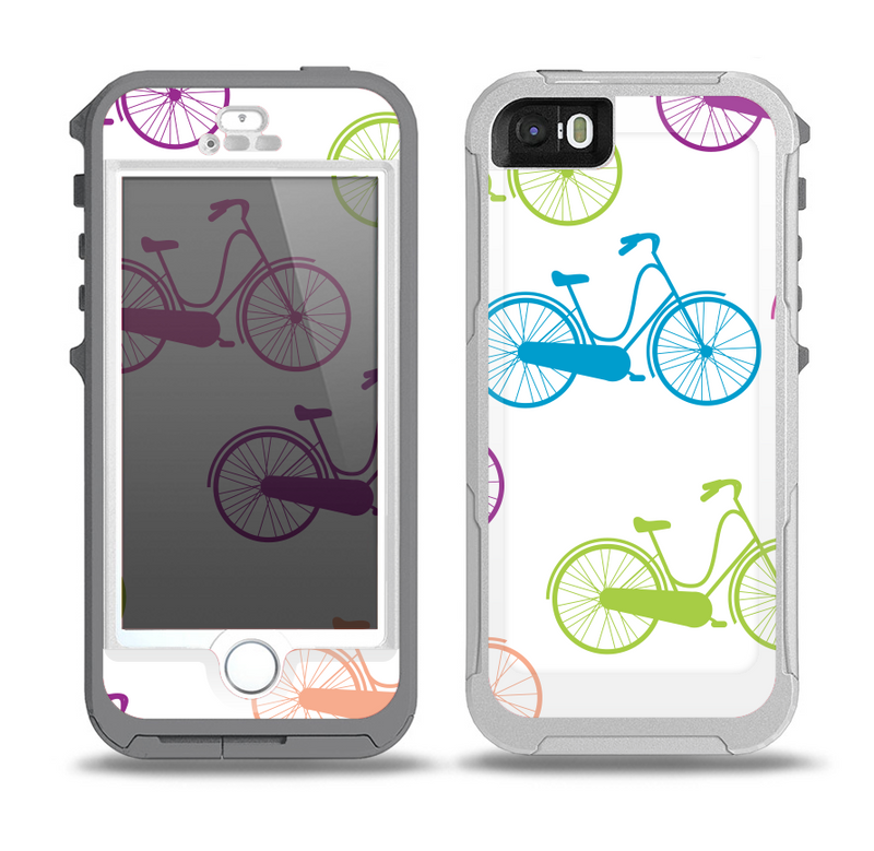 The Colorful Vintage Bike on White Pattern Skin for the iPhone 5-5s OtterBox Preserver WaterProof Case