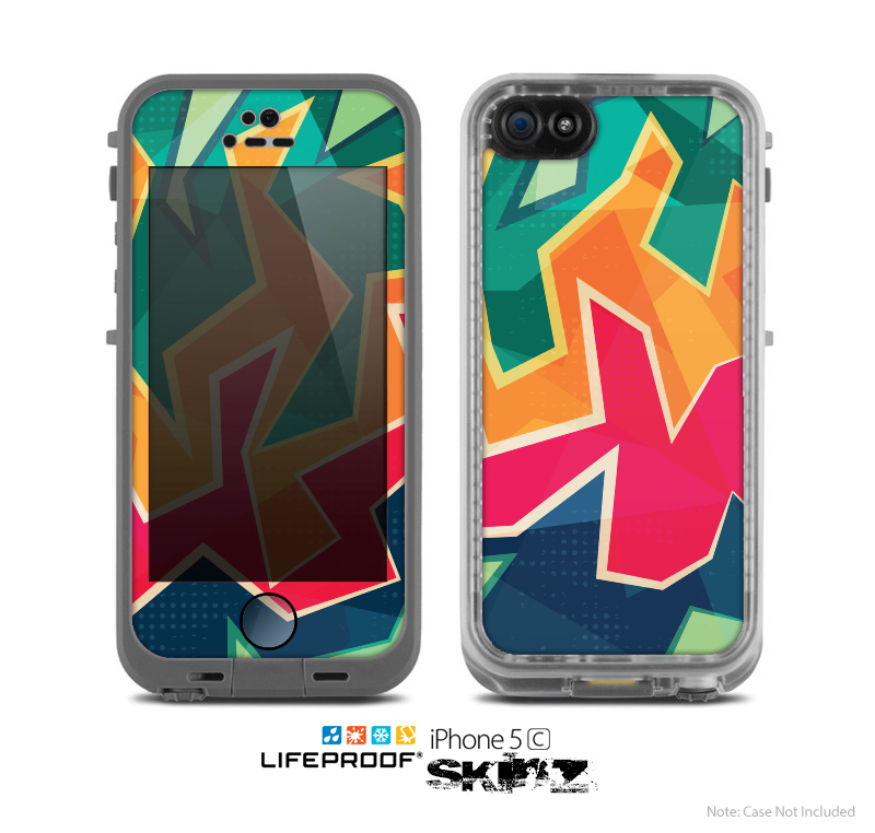The Colorful WIld Abstract Color Pattern Skin for the Apple iPhone 5c LifeProof Case