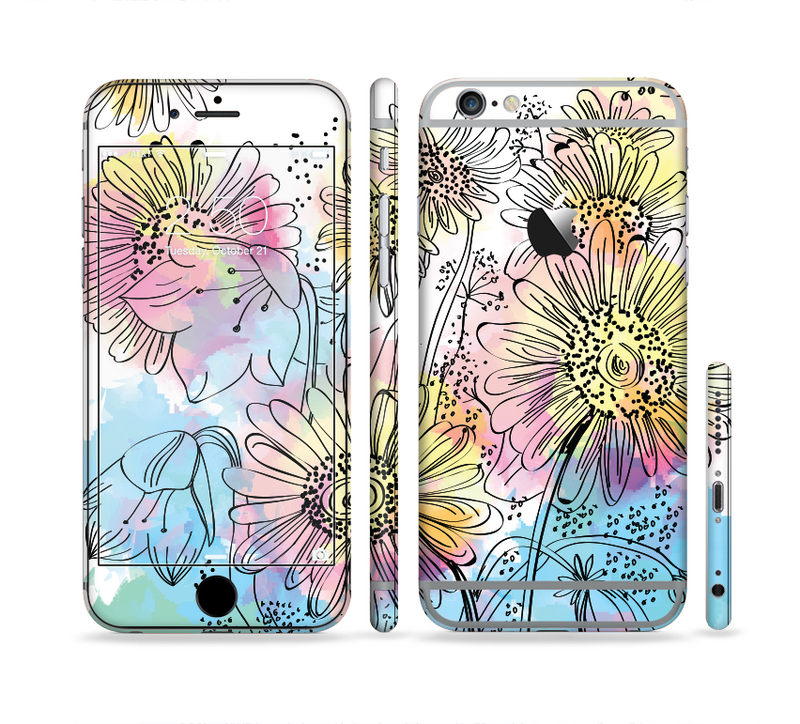 The Colorful WaterColor Floral Sectioned Skin Series for the Apple iPhone 6s