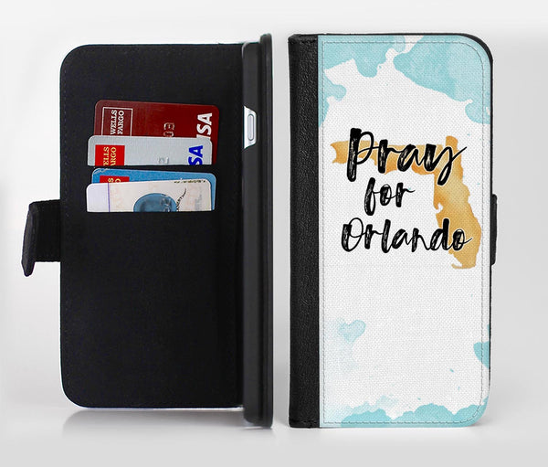 Pray For Orlando V1 Ink-Fuzed Leather Folding Wallet Credit-Card Case for the Apple iPhone 6/6s, 6/6s Plus, 5/5s and 5c