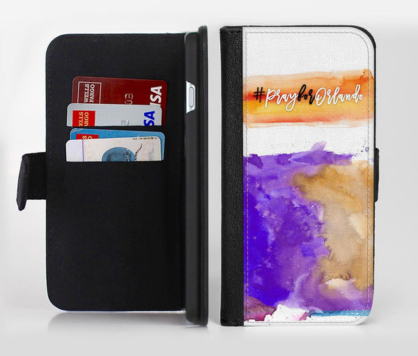 Pray For Orlando V3 Ink-Fuzed Leather Folding Wallet Credit-Card Case for the Apple iPhone 6/6s, 6/6s Plus, 5/5s and 5c