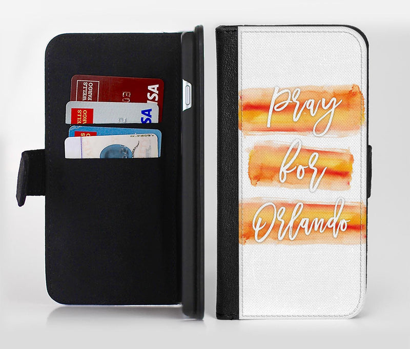 Pray For Orlando V6 Ink-Fuzed Leather Folding Wallet Credit-Card Case for the Apple iPhone 6/6s, 6/6s Plus, 5/5s and 5c